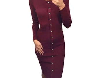 Long Sleeve Button Down Bodycon Sweater Dress