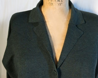EILEEN FISHER Dark Green Wool Merino Cardigan Size L, Women's Wool Cardigan Sweater
