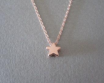 Tiny Rose Gold Star Necklace