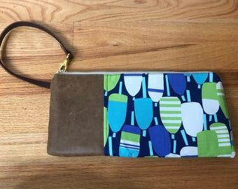 Genuine Leather and Cotton Wristlet/Clutch - Buoy Summer Style
