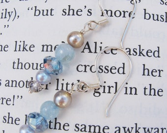 Aqua Marine Earrings, March Birthstone, Crystal, Pearl, Sterling Silver, Ready To Ship, light blue, baby blue, Alice, Shimmer Shimmer