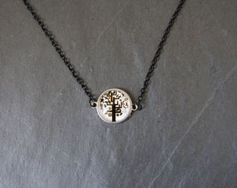 Black and white, tree, glass cabochon necklace