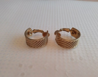 Vintage Clip On Earrings Hoops in Gold Tone costume jewelry
