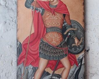Saint George- Handmade Byzantine Icon on old wood