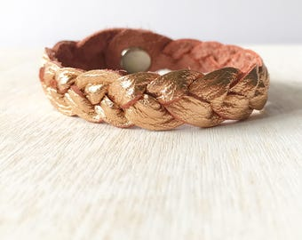 Braided leather bracelet - Copper