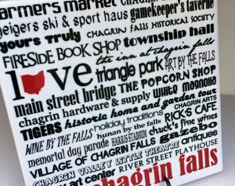 CHAGRIN FALLS ohio  - 4x4 Art Tile - can be personalized, graduation, housewarming