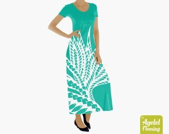 Floral Hawaiian Short Sleeve Long Maxi Dress, Polynesian Turquoise White Frock for Women