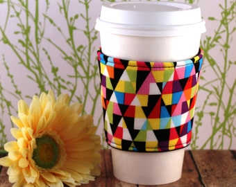 Fabric Coffee Cozy / Geometric Delight Coffee Cozy / Coffee Cozy / Tea Cozy
