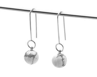 White marble earrings - Howlite drop earrings - Marble dangles earrings