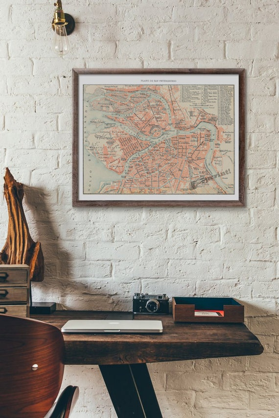Sant Petersburg old city map vintage poster ,wall art,Vintage city map poster, Giclee city map poster TVH232WA3