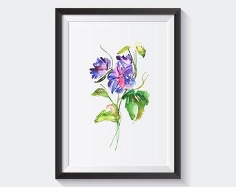 Morning glory Flower Poster Print Art