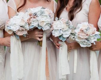 Romantic Fabric Flower Bouquet | Brooch Bouquet | Blush, White, Fabric Flowers, Rose, Ranunculus, Peony, Dusty Miller | Bridesmaid Bouquet
