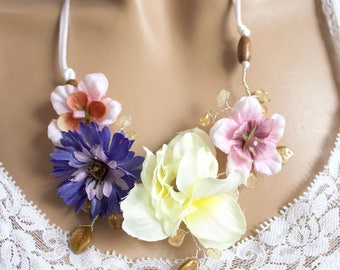 Necklace spring artificial flowers