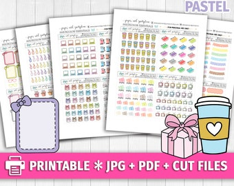 PASTEL Set 2 Multicolor Functional Deco/Printable Planner Stickers/for use with Erin Condren/Cutfiles/Summer Coffee Pink Cute