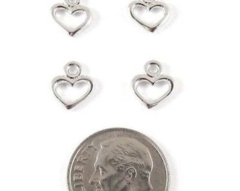 TierraCast Pewter Charms-Rhodium Silver Open Heart (4)