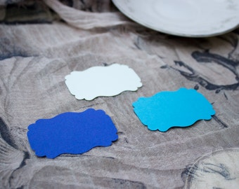 Blue Shades Die Cut Bracket Labels - MULTIPLE COLORS - DIY Die Cut Tags - Card Stock Label - Scrapbooking
