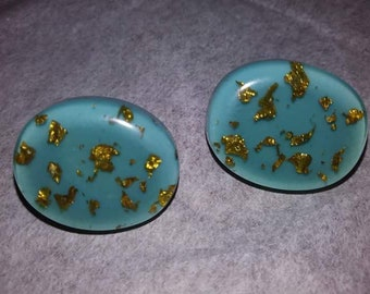 Turquoise and gold fleck confetti lucite earrings