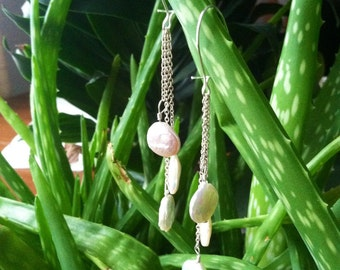 Coin pearl and sterling silver chain earrings