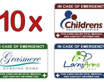 10 x Logo I.C.E. Info Cards