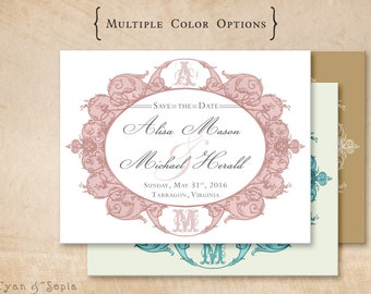 Antique Oval Frame - Wedding Save the Date - DIY 4x5 Printable Postcard - Ornate Victorian - Pink Blush Gray, Aqua Ivory, Gold White