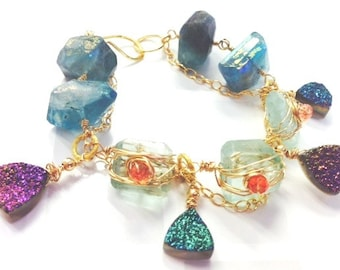 Druzy and Fluorite Chunky Wire Wrapped Bracelet   chunky bracelet   Druzy Bracelet