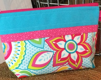 Bags & Purses Cosmetic Makeup Storage Bag Personal Zippered Pouch Bright Pink Floral and Aqua Blue Handmade Zippered Pouch Ladies Makeup bag