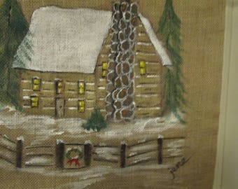 FREE SHIP, Burlap bag, Painted log cabin, Feed Sack, Log Cabin, Hand painted art, home decor, cabin decor, country decor, primitive decor.