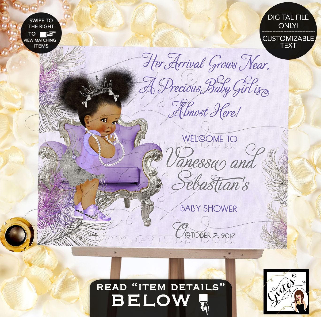 Purple Silver Lavender Baby Shower Welcome Sign, Lavender Silver Princess  Ethnic, Printable Poster Sign, African American Afro Puffs, Gvites
