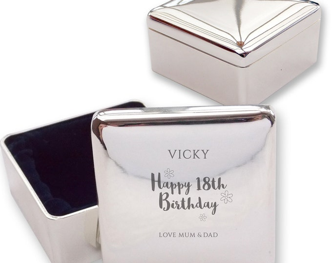 Personalised engraved 18TH BIRTHDAY square shaped trinket box gift idea, flowers  - HB18