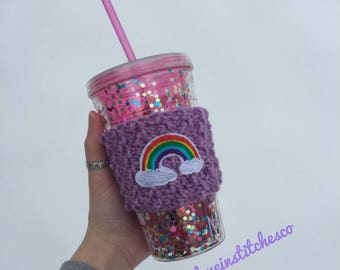 Rainbow coffee cozy, mug sweater, coffee sleeve, travel mug cozy
