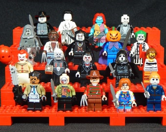 Horror Movie Pick Your Set Of 5 Minifigures Jason Chuckie Freddy Mike Myers Leatherface Jigsaw Pinhead Building Toys (LEGO Compatible)