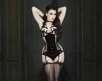 BESPOKE Black Velvet Sheer Underbust Corset