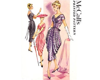 McCalls 3957 Womens Cocktail Gown Side Draped Skirt Wrap Bodice Sheath Dress 50s Vintage Sewing Pattern Size 14 Bust 34 inches