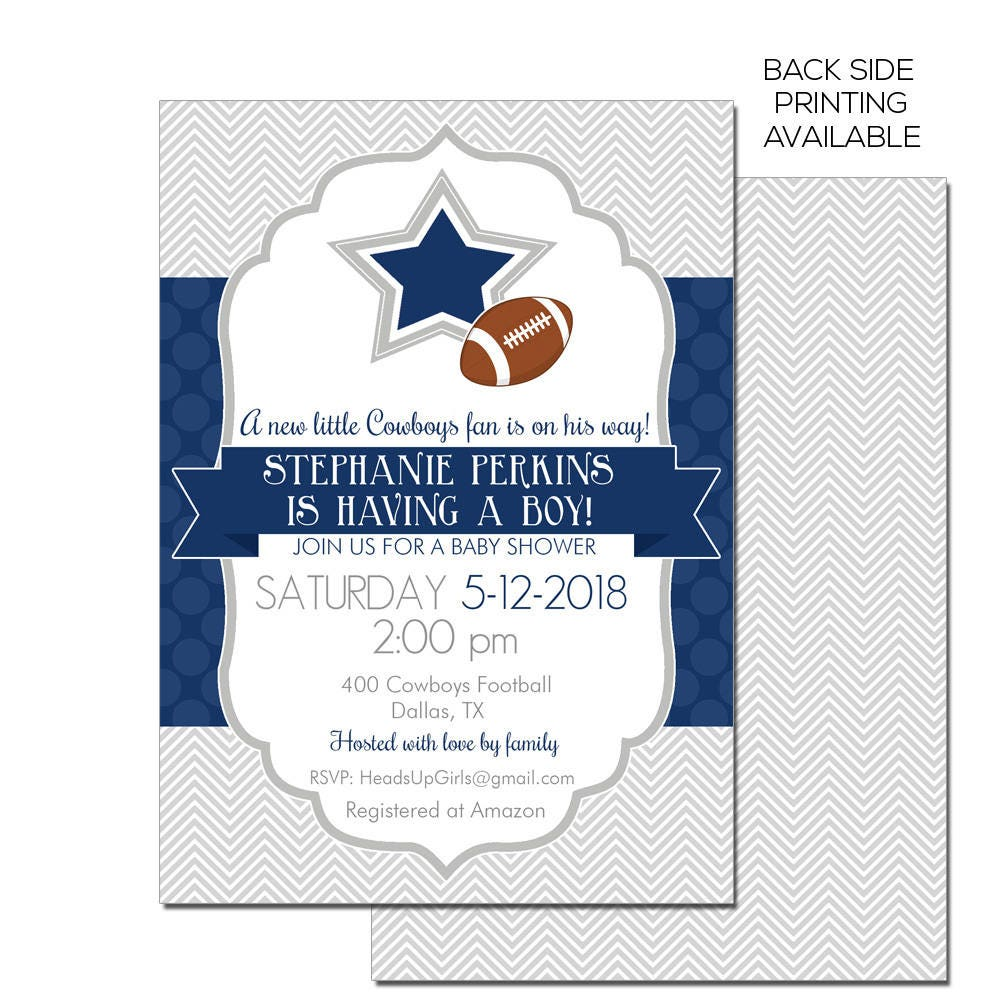 Personalized Dallas Texas Cowboys Football Baby Shower