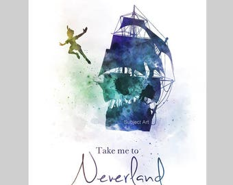 Peter Pan inspired Quote, Take me to Neverland ART PRINT illustration, Jolly Roger, Wall Art, Home Decor, Nursery, Gift