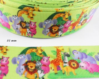Ribbon coarse light green of the jungle animals from 25 mm sold by 50 cm