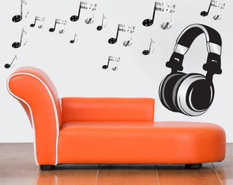 Headphone Wall Decal Music Note Bedroom Art, Headphone Music Wall Mural, Music  Wall Decal, Music Wall Decor, Peel And Stick Music Notes, C28