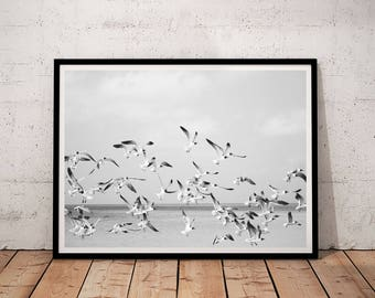 Birds Print, Birds Printable, Ocean Printable Art, Ocean Wall Art, Ocean birds Print, Wave Wall Art, Wave Printable, black and white birds