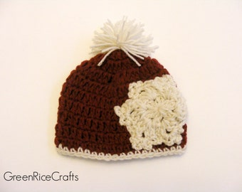 Crimson and Cream Crocheted Snowflake Pom Pom Beanie
