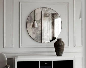 "Small frameless round mirror. Small, vintage inspired Antiqued decorative wall mirror. Handmade smoked wall mirror, 19"" diameter mirror."
