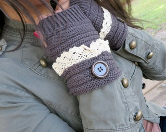 Knitted Fingerless Gloves, Brown Winter Gloves, Wrist Warmers, Mittens, Gloves, Winter Knitted Warm Gloves, Christmas Gift For Her Under 15