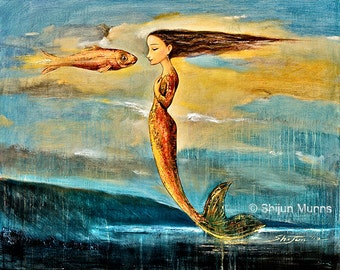 Little Mermaid Art Print: Mystical Mermaid floating above the Sea-giclee print on canvas or paper by Shijun Munns-blue fantasy art-ocean art