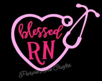 Stethoscope Blessed RN Nurse decal - sticker - cling - window - cup - tumbler - laptop - tablet - car