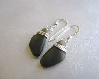 Sea Glass Earrings - Dark Olive Green - Sterling Silver - Wire Wrapped - Dangle Earring - Genuine Pure Sea Glass from Prince Edward Island