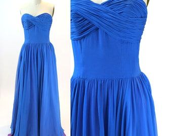 Vintage 1950s Royal Blue Sweetheart Chiffon Gown / Size S / Small