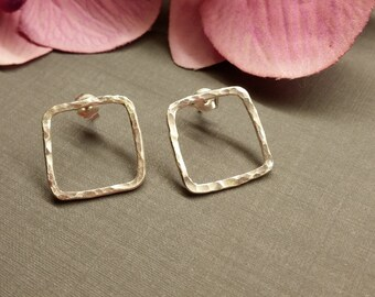 Large hammered Silver - earrings 925 Silver