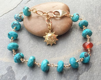 Turquoise and gold filled bracelet with carnelian