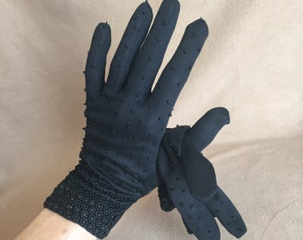 Black Vintage Gloves, Black Small Medium Gloves, Black Beaded Gloves, 50's 60s  Rockabilly, Retro, Pin Up Style, Cotton, Vegan Friendly