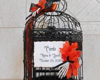 Black and Orange Halloween Wedding Birdcage Card Holder | Halloween Wedding Decor | Gothic Wedding | Fall Wedding