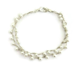 Pearl anklet, ankle bracelet, women's anklet, anklet bracelet, ankle jewlery, gift for her, crochet jewelry,  crochet anklet, summer jewelry